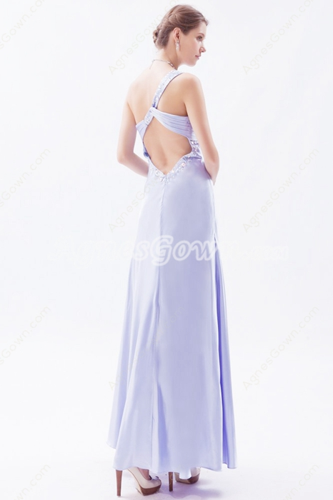 Ankle Length Keyhole Back Elastic Satin Evening Dress