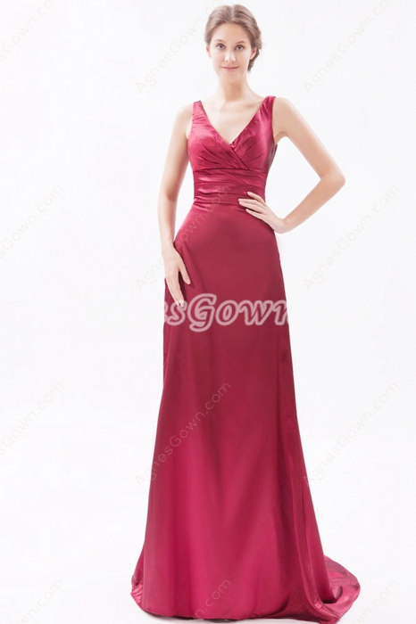 V-Neckline Burgundy Satin Formal Evening Dress