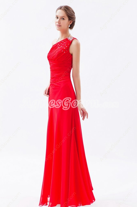 Noble One Shoulder A-line Red Chiffon Formal Evening Dress