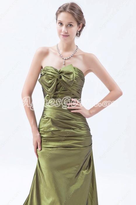 Sweetheart A-line Taffeta Green Prom Dress With Corset Back