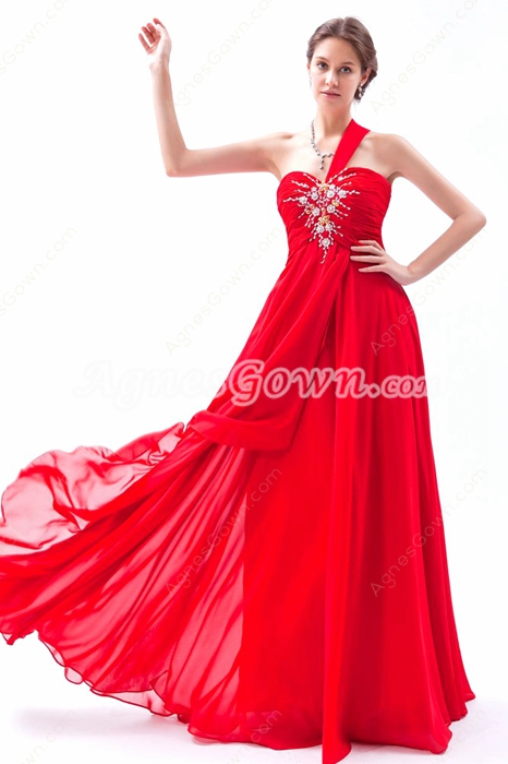 Flowing One Shoulder A-line Red Chiffon Formal Evening Gown