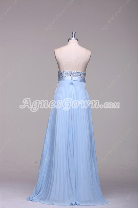 Pretty Strapless Empire Full Length Light Sky Blue Maternity Prom Dress With Beads