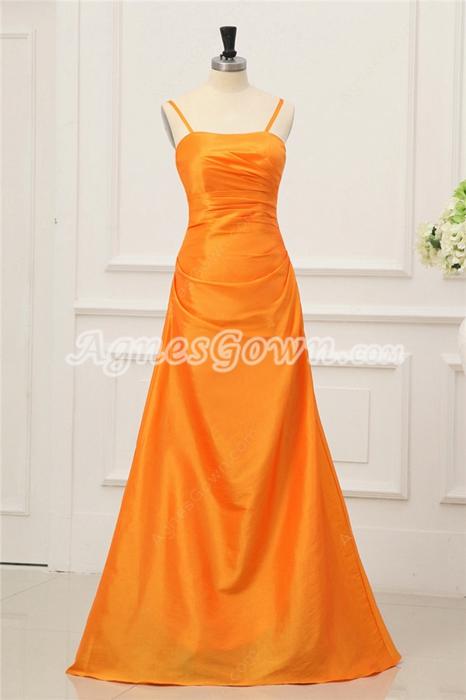 Simple Orange Taffeta Evening Dresses with Spaghetti Straps