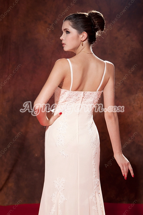 Stunning Spaghetti Straps A-line Ivory Engagement Evening Dress