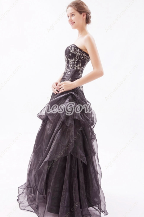 Strapless Puffy Floor Length Black Organza Gothic Quinceanera Dress
