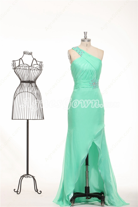 One Shoulder Chiffon Aqua High Low Graduation Dress