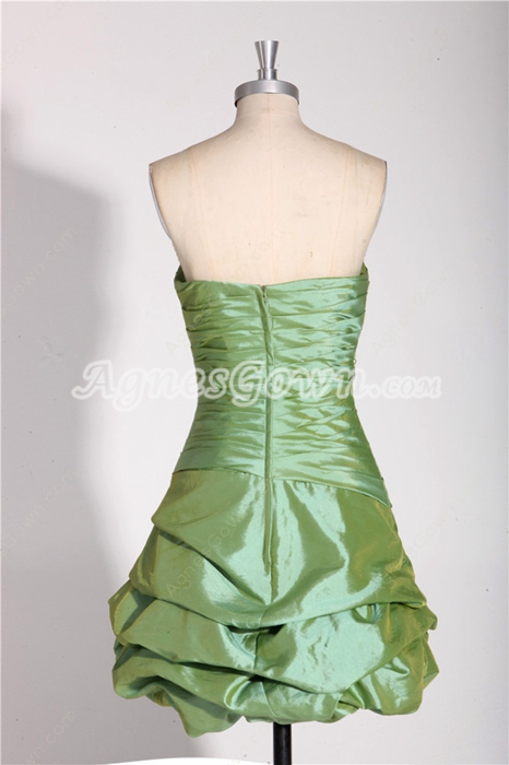 Strapless A-line Mini Length Taffeta Sage Colored Graduation Dress