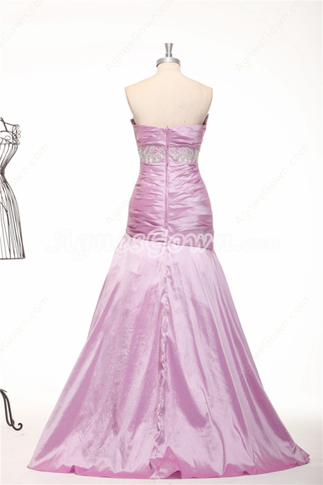 Strapless A-line Taffeta Lilac Prom Dress