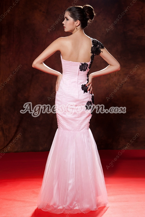 Terrific One Shoulder Trumpet/Mermaid Pink Quinceanera Dress With Black Appliques