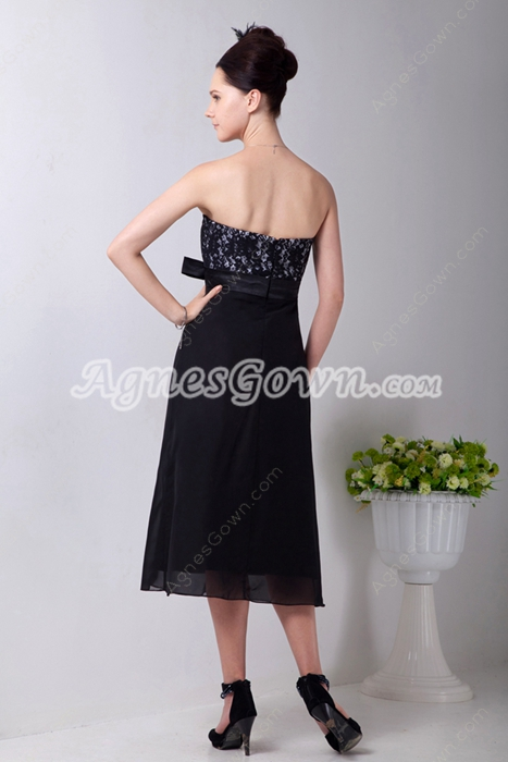 Modest Strapless Tea Length Black Chiffon Junior Bridesmaid Dress With Lace
