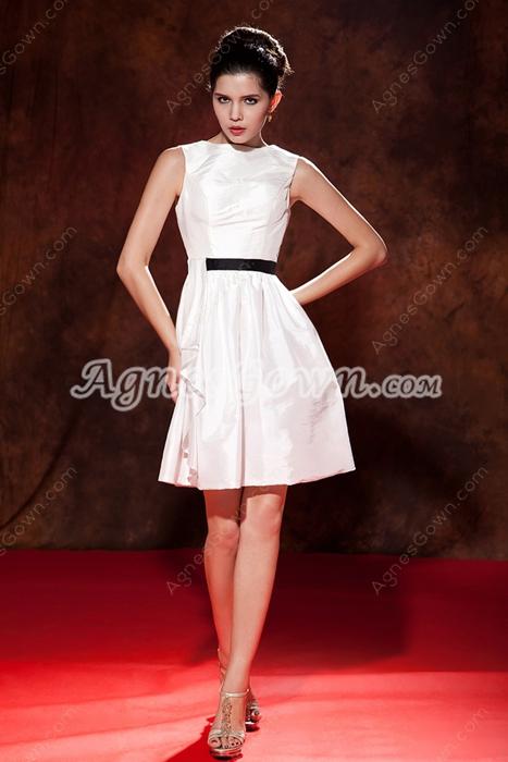 Boat Neckline Mini Length Taffeta Little White Homecoming Dress