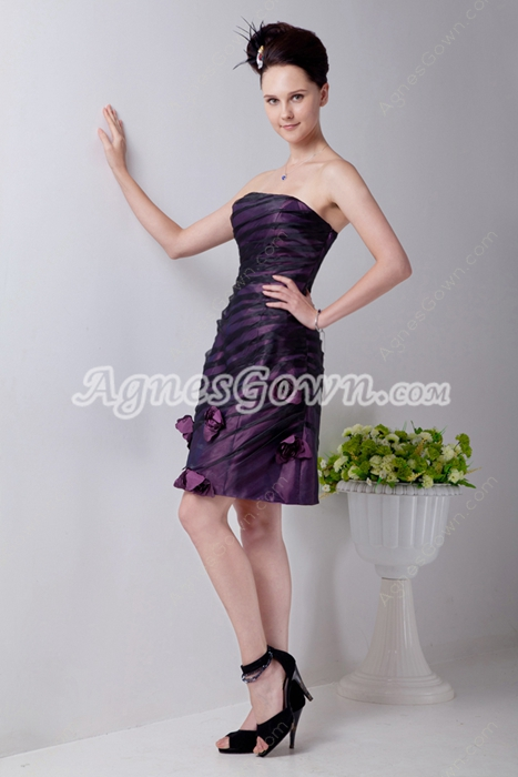 Black & Purple Mini Length Junior Graduation Dress