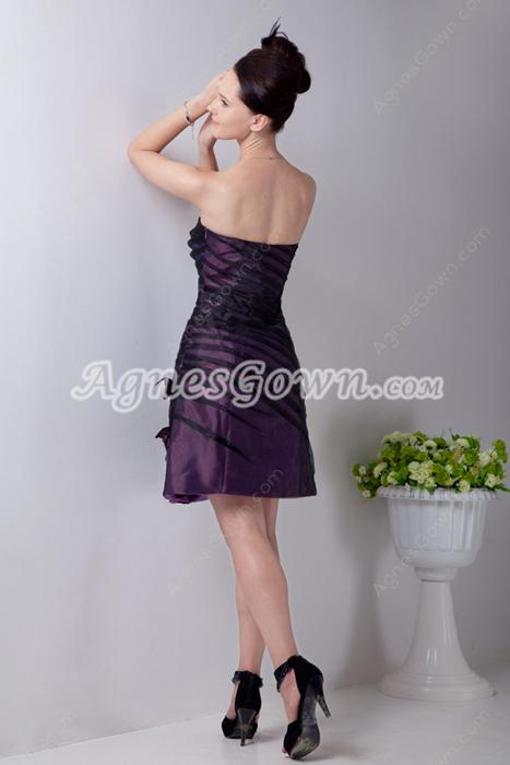 Black & Purple Mini Length Junior Graduation Dress