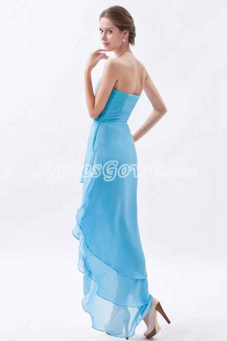 Cowl Neckline Blue Chiffon High Low Homecoming Dress