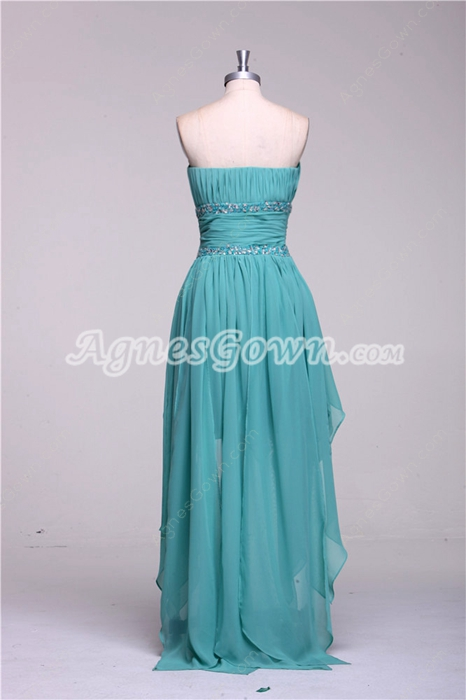 Sweetheart Jade Chiffon High Low Prom Dress With Beads