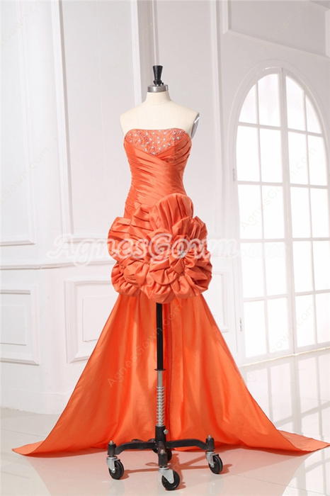 Fashionable Strapless Orange Cocktail Dress With Detachable Train