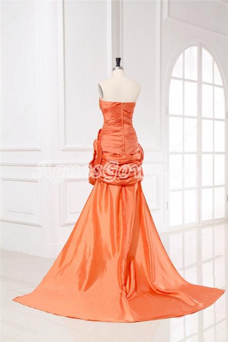 Fashionable Strapless Orange Cocktail Dress With Detachable Train