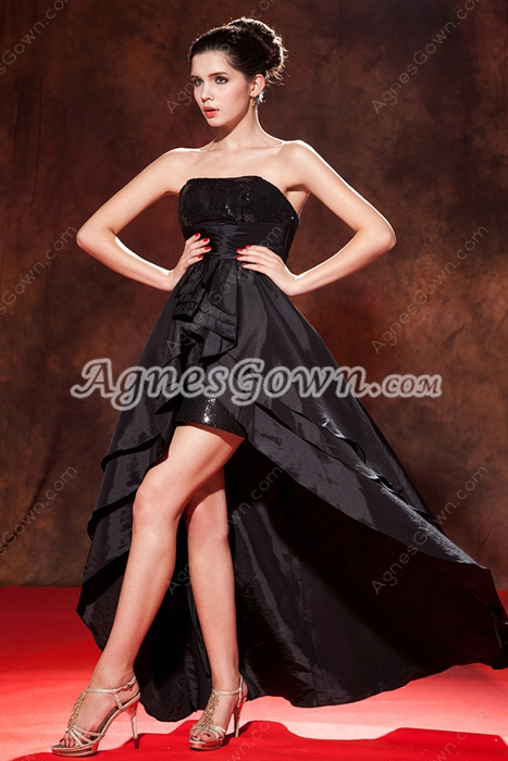 Strapless Sequined Bust High Low Prom Dress