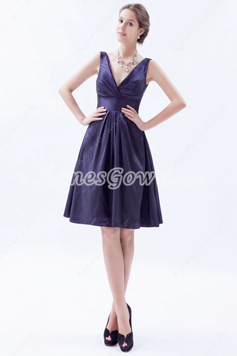 Plunge Neckline A-line Knee Length Violet Taffeta Wedding Guest Dress