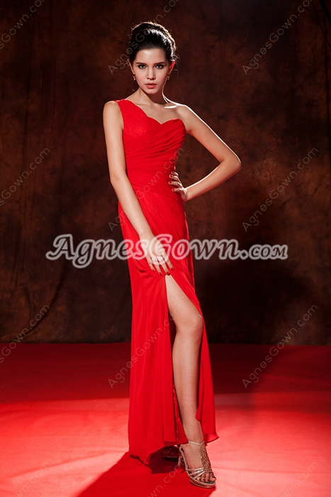 Trendy One Shoulder Column Red Chiffoon Long Graduation Dress