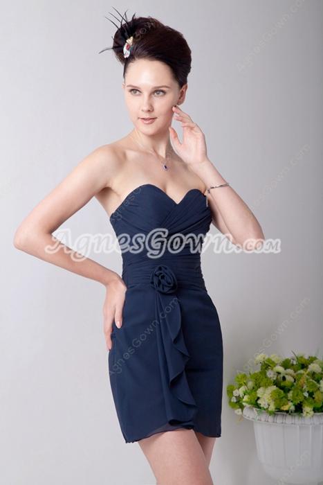 Inexpensive Mini Length Navy Blue Chiffon 8th Grade Graduation Dress