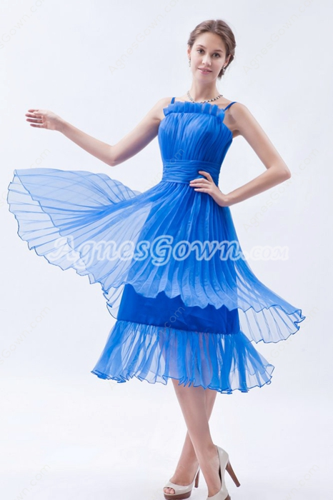 Spaghetti Straps Tea Length Royal Blue Junior Prom Dress