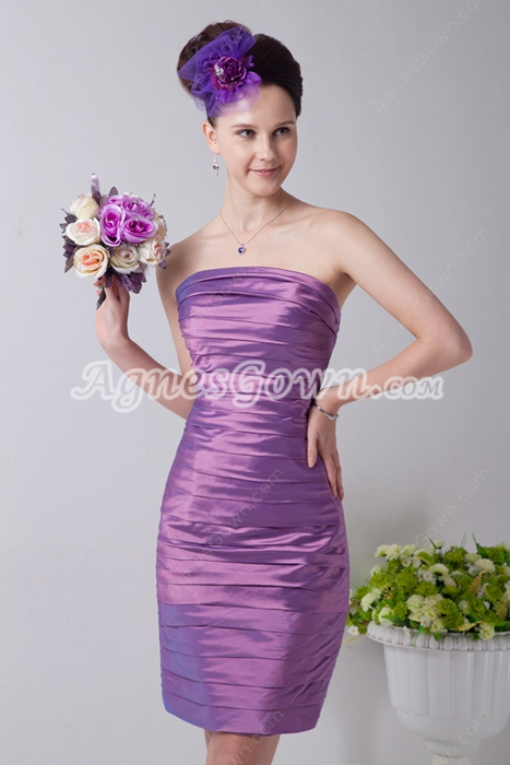 Slinky Column Mini Length Lilac Wedding Guest Dress