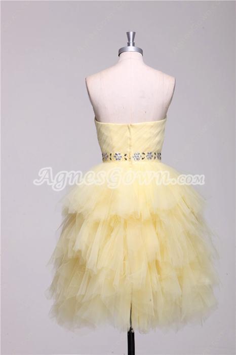 Pretty Multi Layered Pale Yellow Sweet Sixteen Dress Short Length
