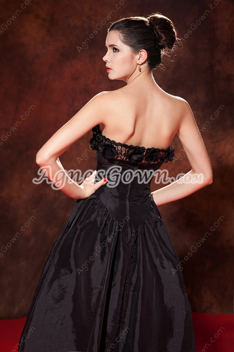Tea Length Taffeta Black Junior Prom Dress With Floral Bust