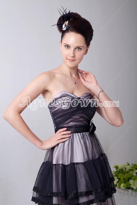 Affordable Tea Length Black & White Tulle Prom Dress For Juniors