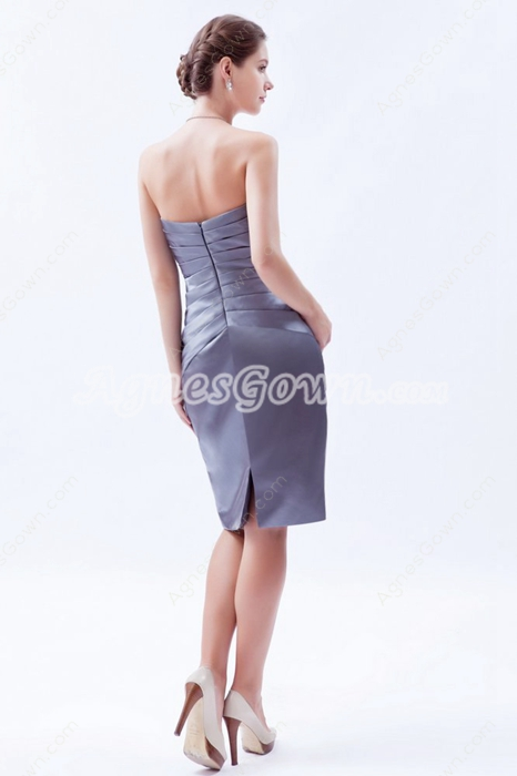 Sheath Knee Length Silver Grey Satin Mother Of The Groom Dress With Jacket