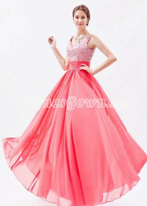 Beautiful Straps A-line Watermelon Colored Prom Dress For Juniors