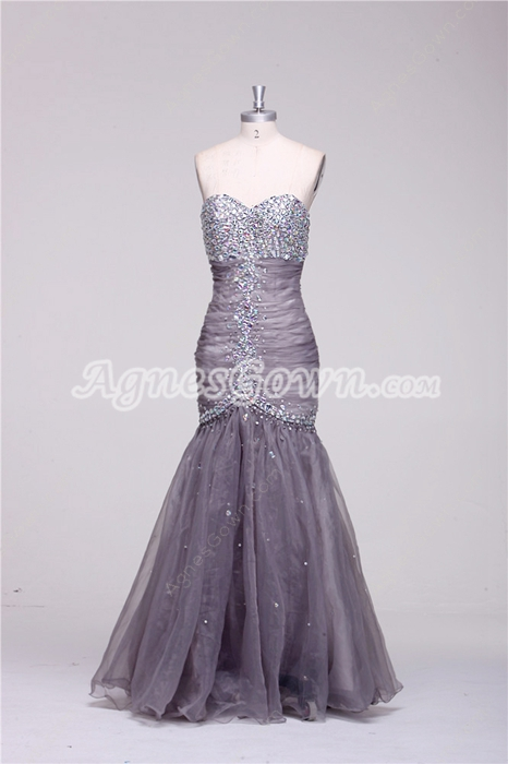 Sweetheart Silver Grey Organza Mermaid/Trumpet Prom Gown