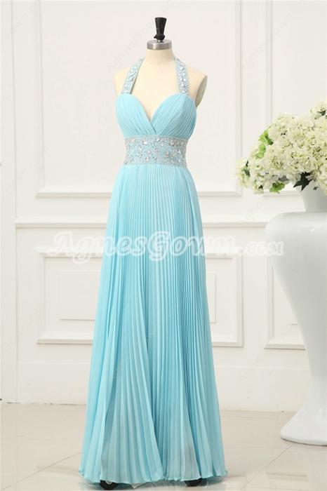 Elegant Pleated Blue Halter Evening Dresses