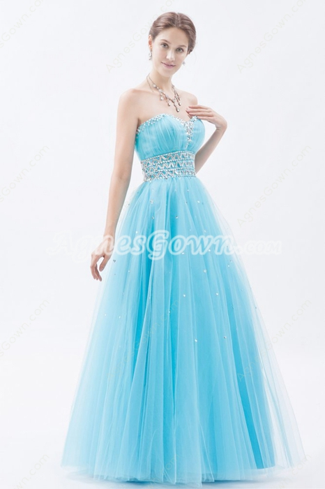 Lovely Sweetheart Blue Tulle Princess Sweet 15 Dress