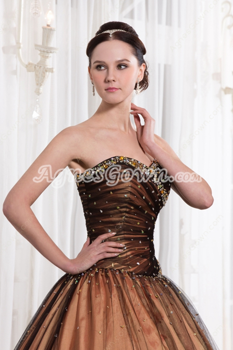 Modest Multi-Colored Sweetheart Black & Coral Sweet 15 Dress