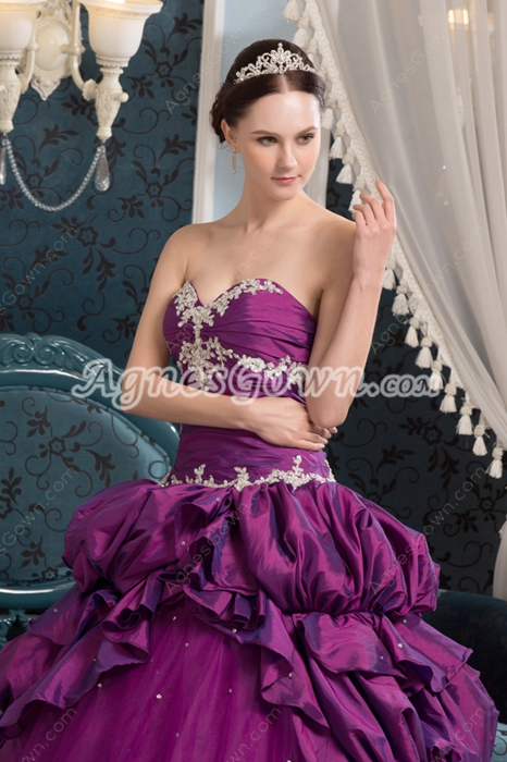 Classy Shallow Sweetheart Ball Gown Plum Quinceanera Dresses Corset Back