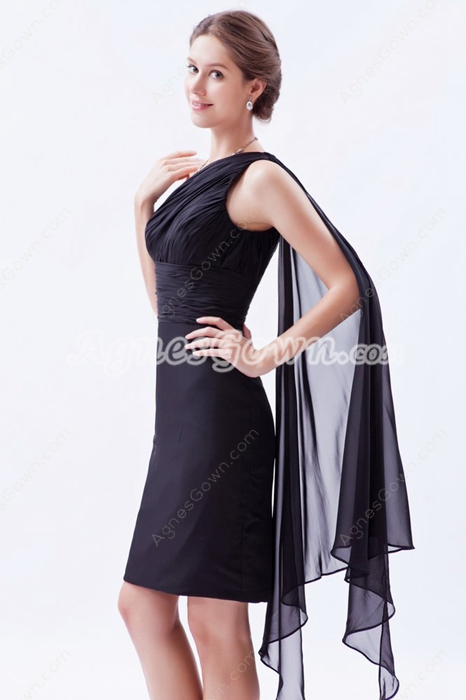 One Straps Sheath Mini Length Black Chiffon Wedding Guest Dress With Ribbon