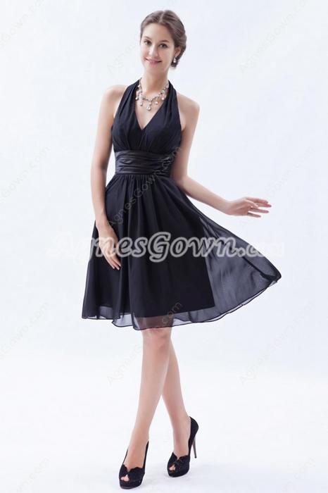Chic Halter Knee Length Chiffon Little Black Dress
