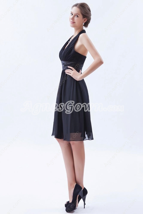 Chic Halter Knee Length Chiffon Little Black Dress