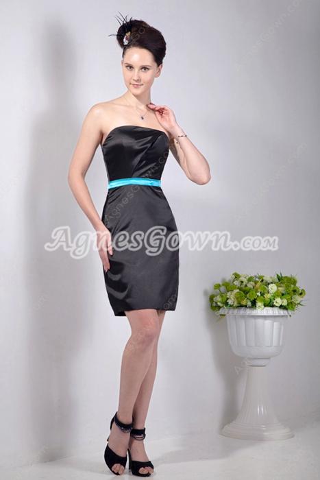 Sheath Mini Length Satin Little Black Dress