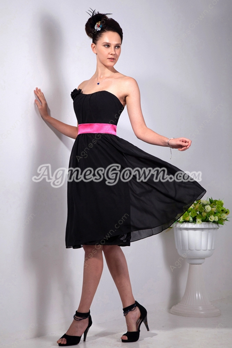 Dipped Neckline Knee Length Black Chiffon Graduation Dress With Fuhchsia Sash
