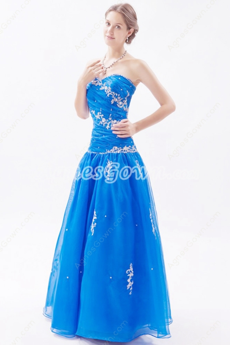 Sweetheart Organza Full Length Royal Blue Princess Quince Dress