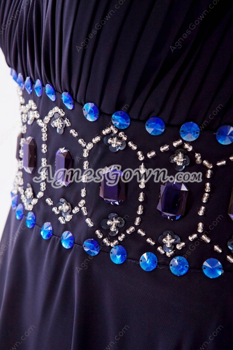 Modest One Shoulder Column Dark Navy Prom Dress With Royal Blue Beads