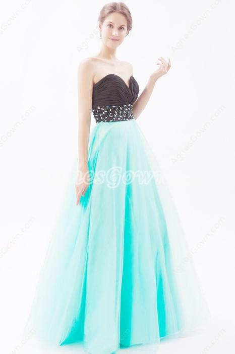 Sweetheart Blue & Black Princess Sweet 15 Dress