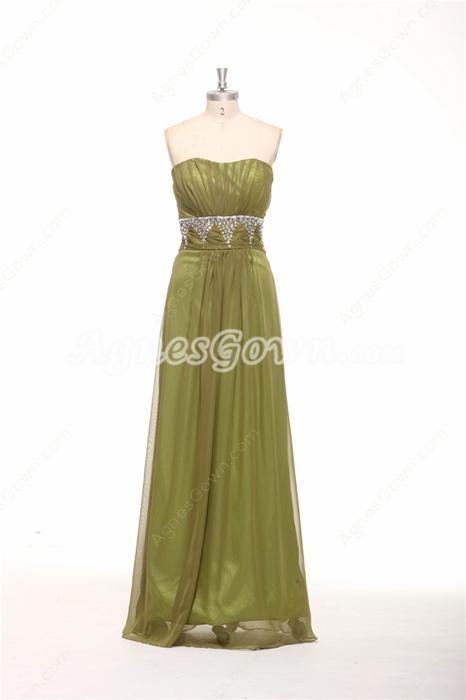 Dipped Neckline Column Full Length Olive Green Evening Dress