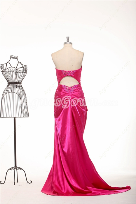 Keyhole Back Sweetheart A-line Hot Pink Prom Dress 2016