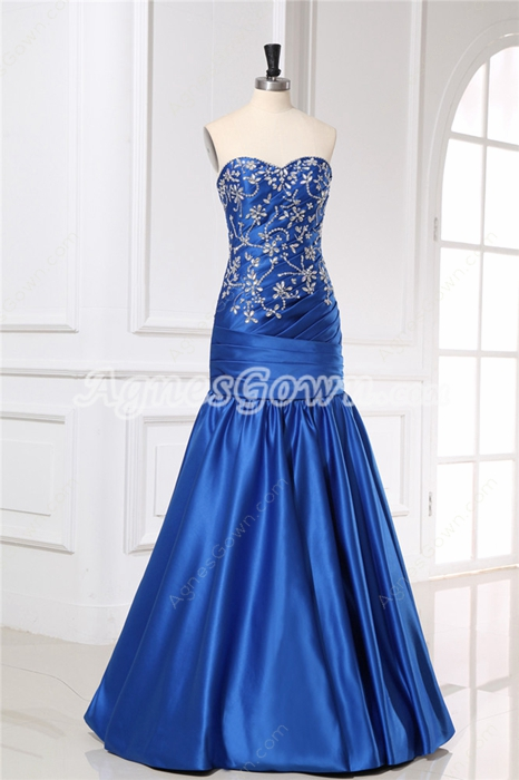 Sheath Floor Length Sweetheart Royal Blue Prom Dress With Embroidered Beads
