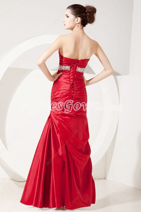 High Quality Sweetheart Red Taffeta Military Ball Dress