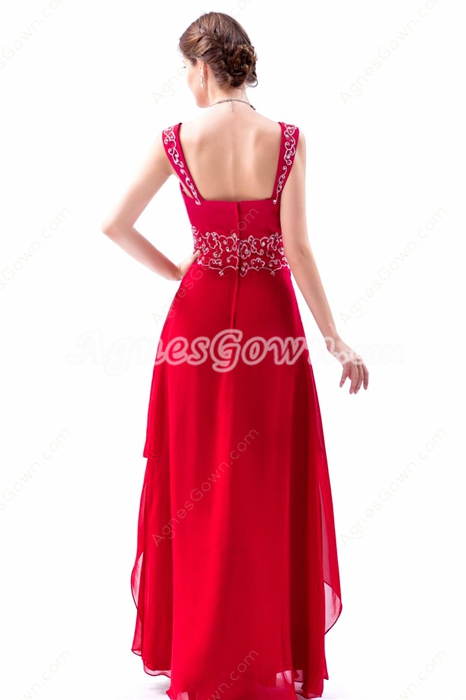 Double Straps Column Red Chiffon Embroidery Prom Dress For Juniors